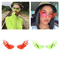2x Women UV400 Driving Fire Flame Rimless Wave Sunglasses Eyewear for Party