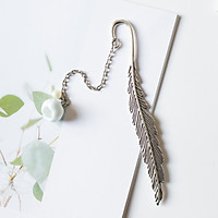 Bookmark Lông vũ kim loại mặt dây chuyền - Hoa anh đào xanh