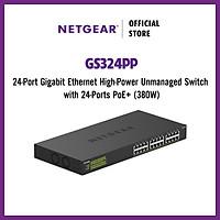Bộ Chia Mạng Để Bàn hoặc Gắn Rack 24 Cổng 10/100/1000M PoE+ Công Suất Cao Gigabit Ethernet Unmanaged Switch Netgear GS324PP - Hàng Chính Hãng