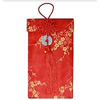 Bao Lì Xì Vải Gấm Cao Cấp Đính Ngọc Bội May Mắn - Họa Tiết Mai Vàng