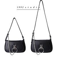 Túi xách nữ 1992 s t u d i o  / màu đen 2 dây đeo vai, đeo chéo phối xích phụ kiện sành điệu