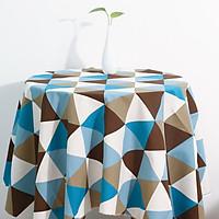 Khăn trải bàn vải bố - Tam giác xanh nâu to - mẫu P05