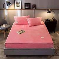 Thảm trải giường nỉ tăm màu hồng - tặng kèm 02 vỏ gối cùng màu