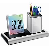 Hộp đựng bút kiêm đồng hồ điện tử màn hình LCD V4 ( Tặng kèm bộ 06 con bướm dạ quang phát sáng )