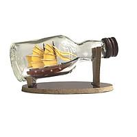 Mô hình thuyền gỗ trong chai thủy tinh nhỏ N1