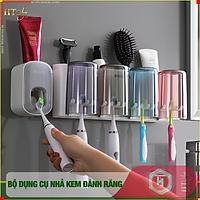 Bộ dụng cụ nhả kem đánh răng tự động 4 cốc và giá treo bàn chải đa năng HT SYS-ECOCO-E1922-chất liệu ABS cao cấp