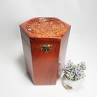 Hộp đựng trà gỗ hương lục giác trạm khắc chim Phượng Hoàng cao cấp tinh xảo