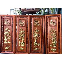 Bộ Tranh Tứ Quý gỗ hương dát vàng cực đẹp ( 119x41x4)