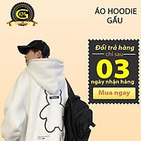 Áo nỉ hoodie gấu hai màu đen trắng form rộng