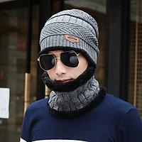 Mũ len nón len nam kèm khăn quàng cổ nam cực ấm cho mùa đông giá rét loại cao cấp