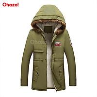 Áo khoác nam có mũ trùm đầu lót lông cừu siêu ấm Ohazo! phong cách Hàn Quốc - XA01