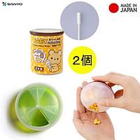 Combo hộp 250 tăm bông dành cho bé Sanyo + hộp đựng thuốc viên cầm tay - nội địa Nhật Bản