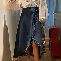chân váy jean Dáng Chữ A Thiết Kế Xẻ Tà Phong Cách Retro Thời Trang Mùa Hè Quyến Rũ Cho Nữ