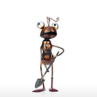 Tooarts 12.6inch Ant Sculpture Iron Cartoon Ant Handicraft Freestanding Sculpture Desk or Garden Decor