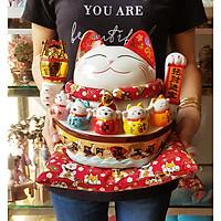 Mèo Thần Tài tay vẫy 27cm - Bát Phương Khai Tài (tặng kèm 50 xu vàng mini may mắn)