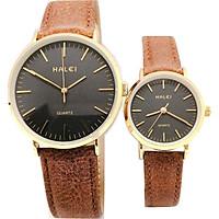 Đồng Hồ Đôi Halei HL541 Dây da nâu (Tặng pin Nhật sẵn trong đồng hồ + Móc Khóa gỗ Đồng hồ 888 y hình + Hộp Chính Hãng + Thẻ Bảo Hành)