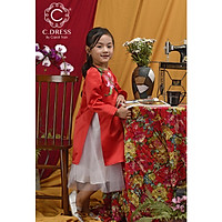 Set Áo dài cách tân cho bé mặc thiết kế hoa tulip