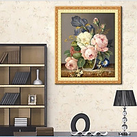 tranh đính đá Bình hoa Mẫu đơn 49x60cm - chua đính