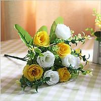 Hoa giả Bó 10 bông hoa hồng lụa màu vàng phối Trắng