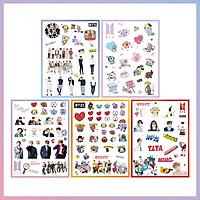 Set 5 Sticker hình dán BT21 BTS (2 Sticker BT21 + 3 Sticker BTS)