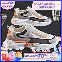 Giày thể thao nam 2 màu tăng chiều cao vải da kết hợp thời trang Hàn quốc insta độc đáo 030
