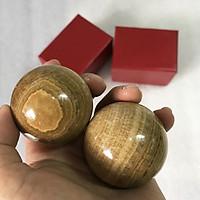 Bi lăn tay đá tự nhiên cho mệnh Kim và Thổ đường kính 4cm có hộp đi kèm ( 2 trái) bilantay.