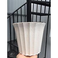 Bộ 10 chậu nhựa tròn khía 17x15cm trắng