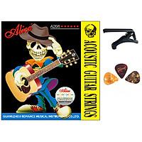 Combo 3 sản phẩm dây đàn guitar Alice A206 - Capo - 3 Picks gải đàn cho âm thanh tốt