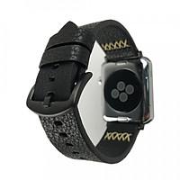 Dây da đồng hồ Apple Watch da Handmade 05 khóa thép không gỉ