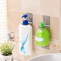 Bộ 2 móc treo cổ chai dầu gội, nước rửa tay Inox 304 dán tường gạch men - có sẵn keo dán sealant fix siêu dính - HOBBY MTDG