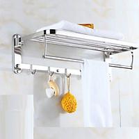 [SUS304] Kệ vắt khăn phòng tắm gấp đứng AIZA cao cấp inox 304 SÁNG BÓNG