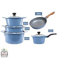 Combo 5 món cao cấp, nồi đúc chống dính ceramic Hàn Quốc đế từ xanh size 18-20-22-24cm, chảo vân đá ceramic size 26cm màu xanh (dùng được tất cả các bếp, kể cả bếp từ) - Hàng chính hãng
