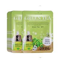 Combo 10 miếng mặt nạ giấy tặng 3 miếng mặt nạ dưỡng bất kỳ EKEL Green Tea ULtra Hydrating Essence Mask