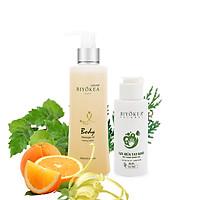 Combo Tiết kiệm - Dầu massage thư giãn, dầu mát xa toàn thân B014 200ml và Gel rửa tay khô kháng khuẩn 80ml BIYOKEA