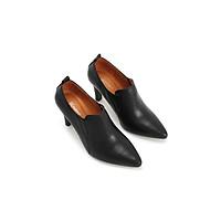 Giày Boots nữ cổ thấp gót nhọn 8P da xịn cao cấp PABNO || BH 12 Tháng || PN641