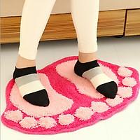 Combo 2 thảm chùi chân nhà tắm hình đôi bàn chân ngộ nghĩnh - giao màu ngẫu nhiên