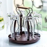 Khay giá đựng úp ly cốc có khay hứng nước, chất liệu kim loại-Decor phòng trà, phòng khách, phòng ăn