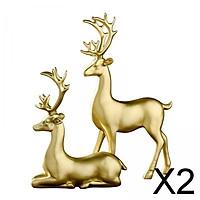 2x Resin Couple Statue Ornament Wedding Gifts Wedding Decor Golden Elk Deer