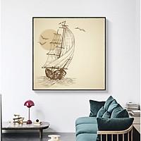 Tranh trang trí Decor Phong cảnh Phong thủy Thuận buồm xuôi gió cao cấp. (Bộ 1 bức), Khung hợp nhôm chống ẩm, bền, đẹp, nhiều kích thước. Phù hợp nhiều không gian sang trọng.
