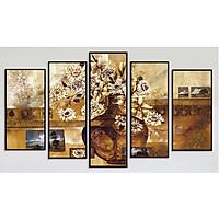 Bộ 5 tranh treo tường bằng vải canvas, chống ẩm mốc, không bám bụi, kèm khung tranh trang trí treo phòng khách đẹp, AT827