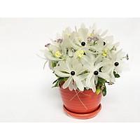 Chậu hoa giả cao cấp - Hoa Cúc pha lê - nhựa handmade Màu trắng, chậu sứ (20x16cm)