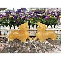 Cặp Tỳ Hưu phong thủy đá thạch anh vàng - Dài 15 cm