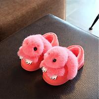 Giày bốt cổ thấp đế chống trượt kết  hình mèo con đuôi dài màu hồng cho bé gái SR04