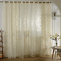 Window Curtain 3D Flowers Yarn Pattern Translucent Tulle Drapes for Bedroom Living Room