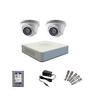 Trọn bộ 2 Camera HIKVISION bán cầu hồng ngoại 2MP - Hàng Chính hãng Phân phối