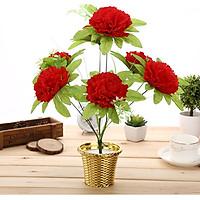 Chùm Hoa Lụa giả 7 Bông Cẩm Chướng Lớn Màu Đỏ