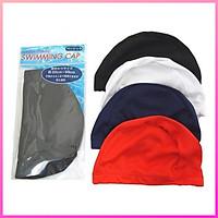 Mũ bơi dùng cho trẻ em và người lớn chất liệu polyester có phần chun co giản linh hoạt giữ tóc gọn gàng khi bơi
