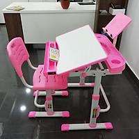Combo bộ bàn, ghế học sinh thông minh chống gù, chống cận cho trẻ - tặng đèn led chống cận thị 3 chế độ - mặt bàn nghiêng 45 độ
