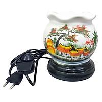 Đèn xông tinh dầu dáng tròn hình đồng quê Bát Tràng ( tặng ví đựng thẻ card )