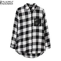 ZANZEA Fashion Autumn Womens Blouses Long Sleeve Plaid Pockets Shirts Casual Turn Down Collar Blusas Plus Size S-5XL (Black)